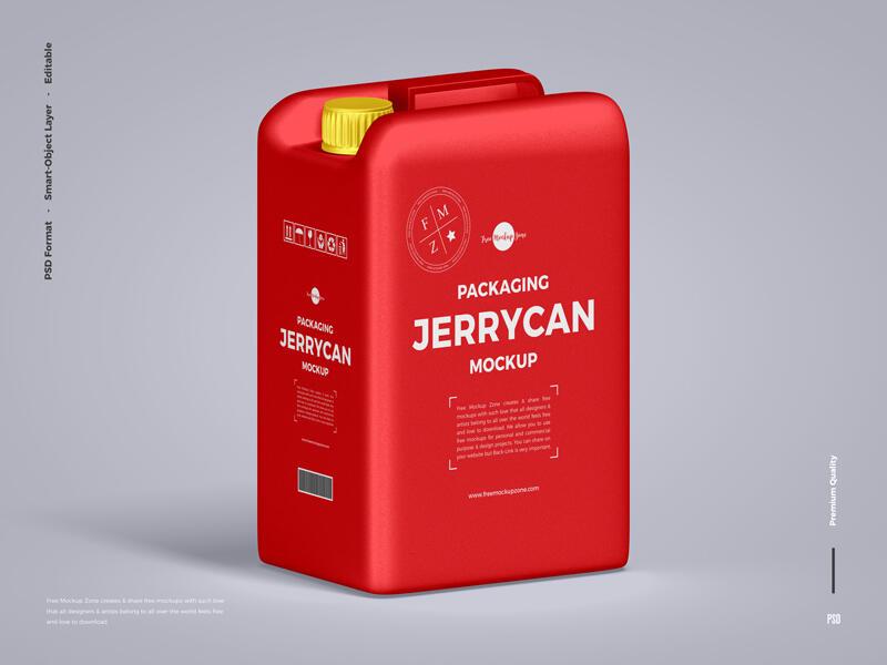 Free Plastic Jerrycan Bottle Mockup