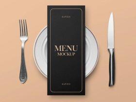 Free Restaurant Menu Card Mockup (PSD)