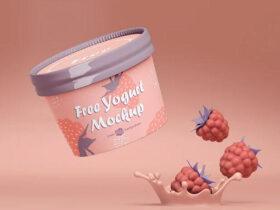 Free Small Yogurt Packaging Mockup