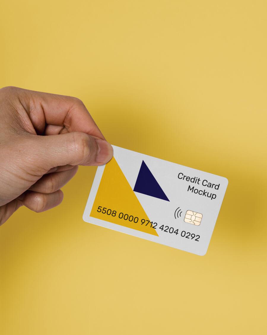 Hand Holding Credit Card Free Mockup