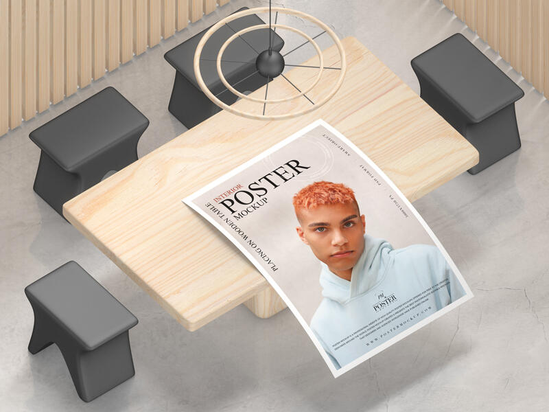 Interior Poster Placing on Wooden Table Free Mockup