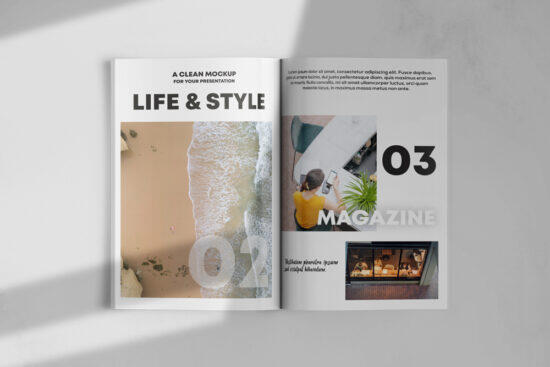Opened Magazine Free Mockup
