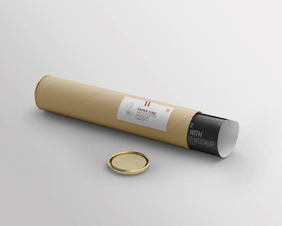 Paper Tube with Poster Free Mockup