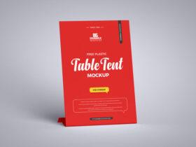 Plastic Table Tent Free Mockup