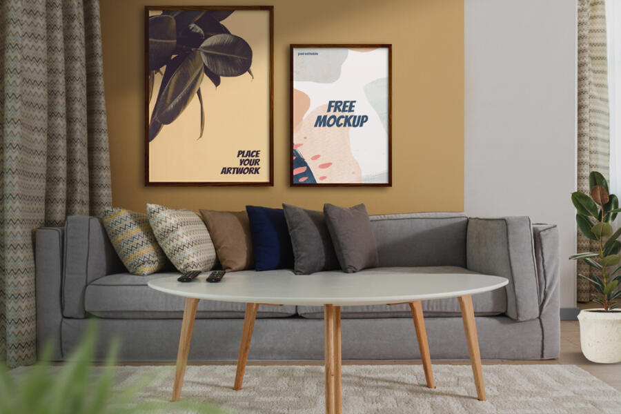 Poster Frames in a Living Room Free Mockup