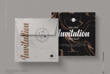 Square Invitation Card Free Mockup