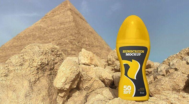 Sunscreen Spray Bottle Free Mockup