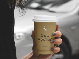 Woman Holding Cafe Cup Free Mockup