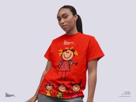 Young Girl Wearing T-Shirt Free Mockup