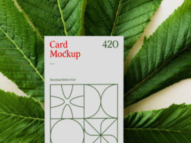 Card with Leaf Free Mockup