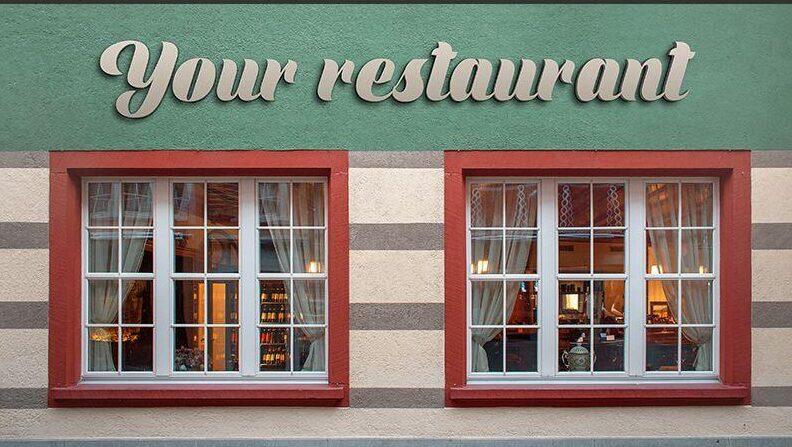 3d Logo Sign on Restaurant Facade Free Mockup