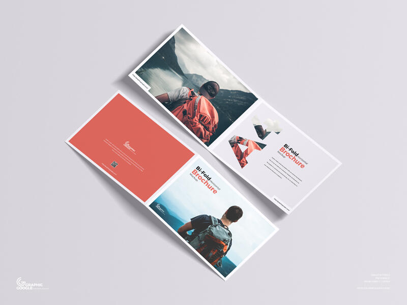 A4 Bi-Fold Horizontal Brochure Free Mockup