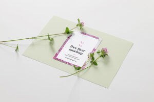 A6 Flyer with Flowers Free Mockup