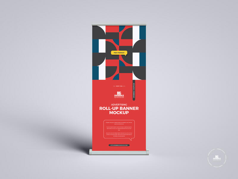 Advertising Roll-Up Banner Free Mockup