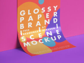 Branding Glossy Paper Free Mockup