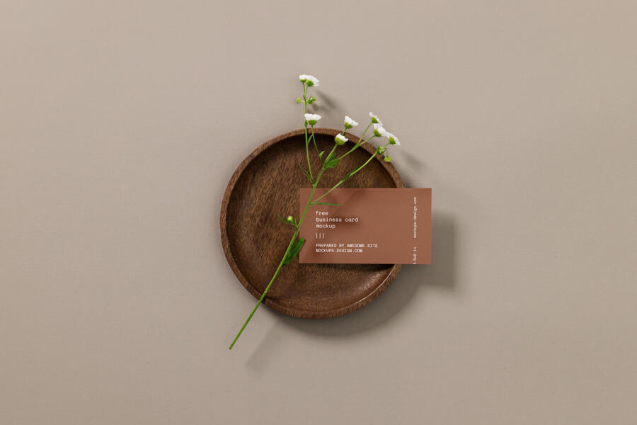 Business Card with a Flower Free Mockup