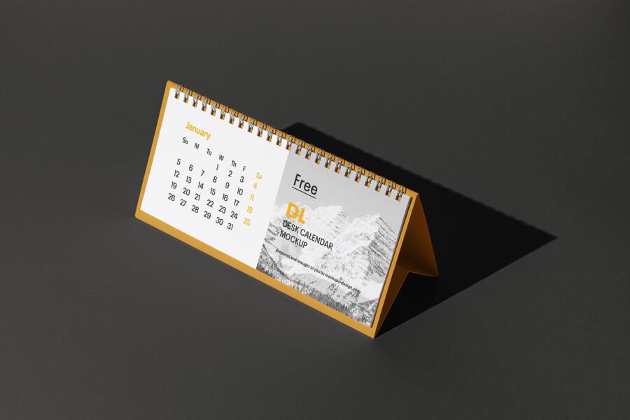 DL Desk Calendar Free Mockup