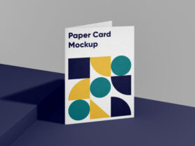 Folded A4 Paper Card Free Mockup
