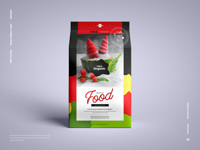 Food Bag Pouch Packaging Free Mockup