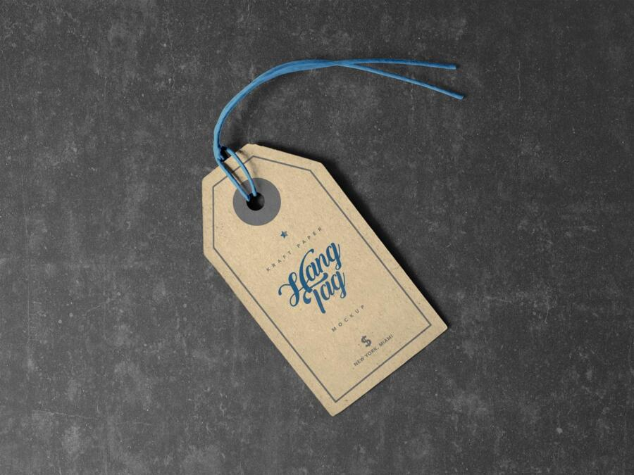 Free Clothing Hang Tag Mockup
