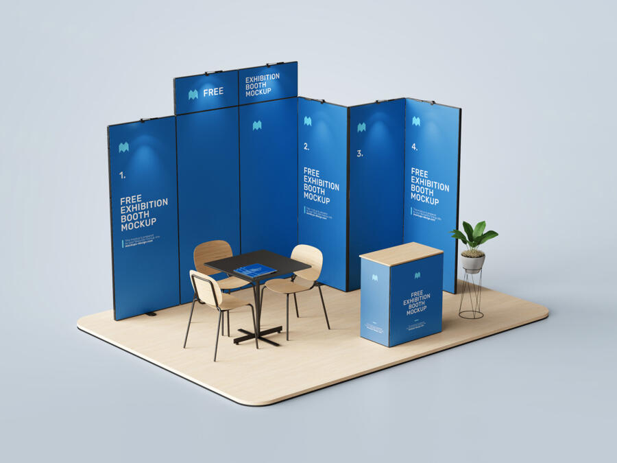 Free Exhibition Booth Mockup Set