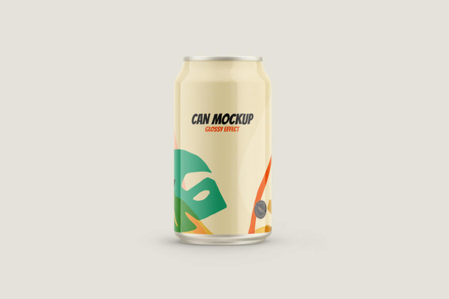 Free Glossy Can Drink Mockup
