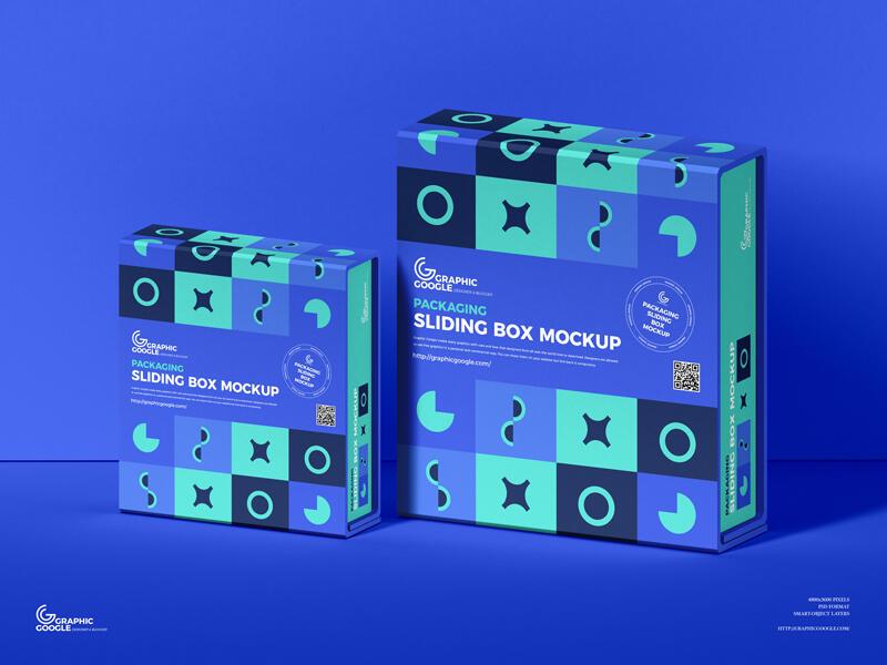 Free Packaging Sliding Box Mockup