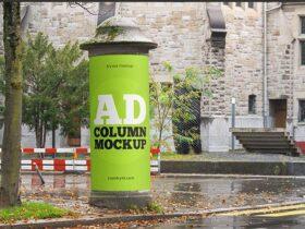 Free Round Street Advertising Column Mockup