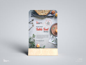 Free Wooden Stand Table Tent Mockup