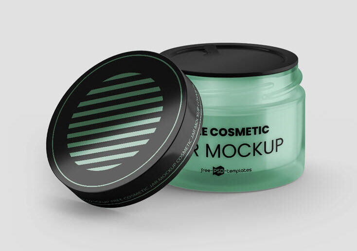 Glass Cosmetic Jar Free Mockup