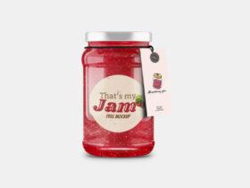 Jam Jar Bottle with Tag Free Mockup