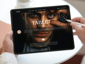 Person Working on Modern Tablet Free Mockup