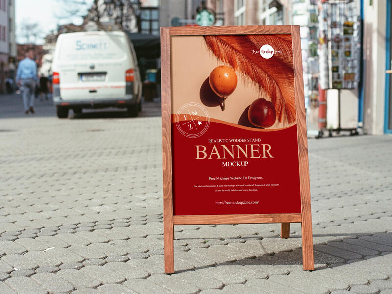 Realistic Wooden Stand Banner Free Mockup