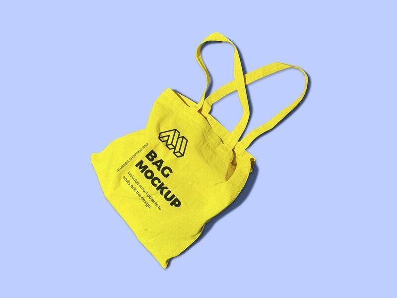 Reusable Bag Top View Free Mockup