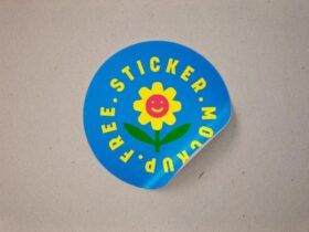 Rounded Peel-Off Sticker Free Mockup