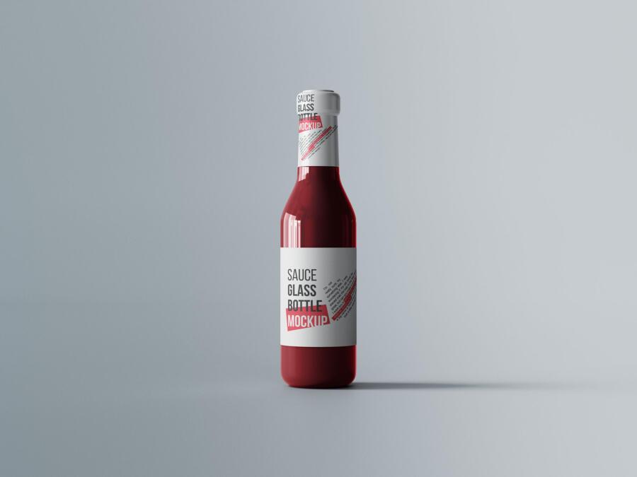 Sauce Glass Bottle Free Mockup