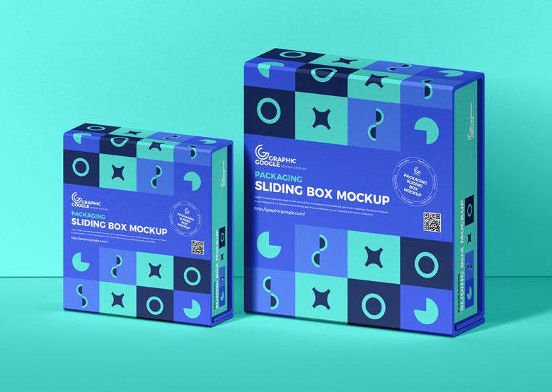 Sliding Box Packaging Free Mockup (PSD)