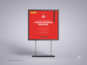Square Advertising Stand Banner Free Mockup