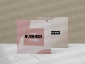 Standing Square Business Card Free Mockup