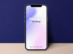 Standing iPhone 12 Free Mockup