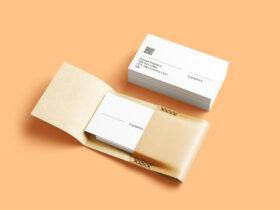 Business Cards & Leather Card Holder Free Mockup