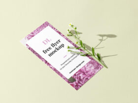 DL flyer with flower Free Mockup (PSD)
