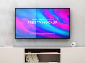 Flat Screen TV Free Mockup