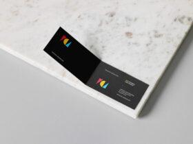 Folded Business Card Free Mockup
