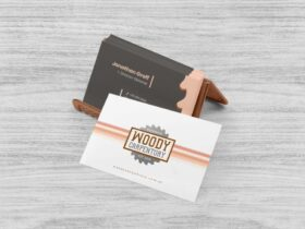 Free Business Card With Holder Mockup