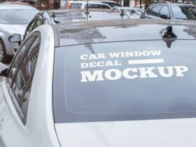 Free Car Window Decal Mockup