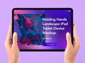 Hand Holding Tablet iPad Free Mockup