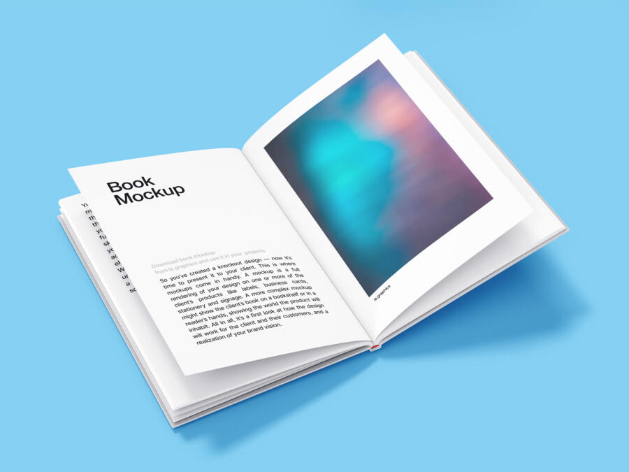 Open Hardcover Book Free Mockup