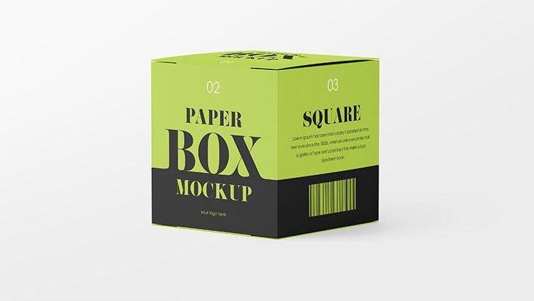 Square Paper Box Free Mockup