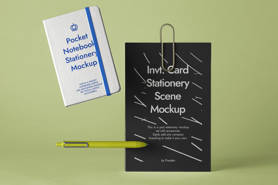 Stationery Notebook Free Mockup Scene